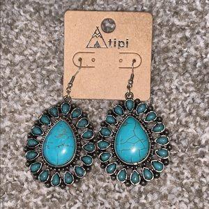 Teal teardrop stone earrings